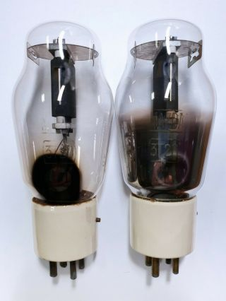 Rare Two Mazda 3 - T - 20 (type 801 / Vt - 62) Vacuum Tubes With Graphite Plate