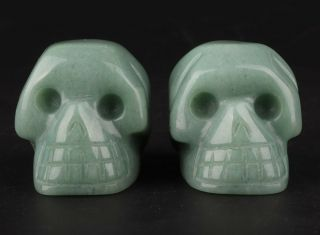 2 Natural Dongling Jade Hand Carving Skull Statue Exorcism Old Christmas Gift