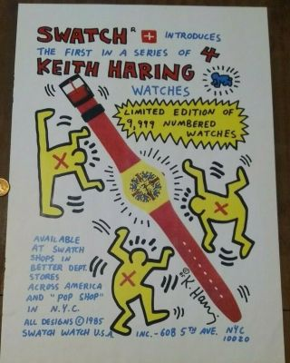 Rare First 1985 Keith Haring Artwork Advertising Poster - - Swatch Watches