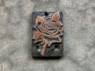Antique Copper Printers Block Plate - Ornate Detail Flower Rose