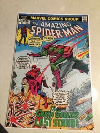 Rare 1973 Bronze Age Spider - Man 122 Key Death Green Goblin Complete Wow