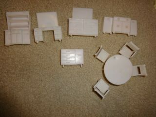 Vintage Superior White Plastic Doll House Furniture Bedroom & Dining Room