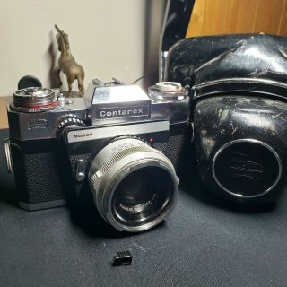 Rare Zeiss Ikon Contarex Silver F=50mm Camera With Case