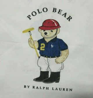 Ralph Lauren Polo Teddy Bear Standard Bed Pillowcase Polo Player Vintage White