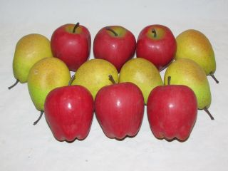 12 Vintage Artificial Fake Fruit Plastic Apples & Pears Life Like Full Size