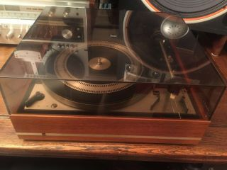 Dual 1219 Turntable With Rare Storage Base,  Empire Stylus & Manuel & Documents