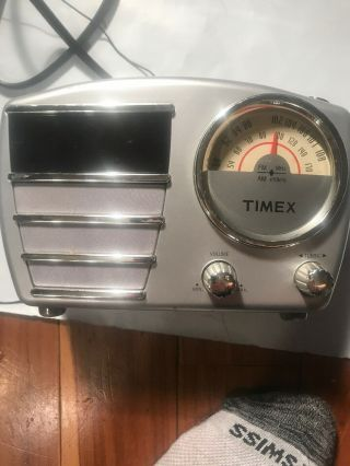 Vintage Retro Look Timex Alarm Clock Radio Model T247s With Battery Backup