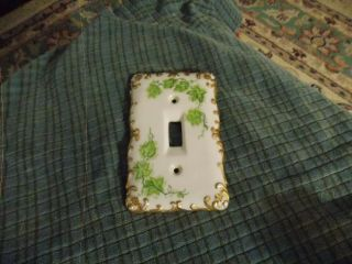 Vintage Hand Painted Ivy & Gold Edge Porcelain Switch Plate Cover Vg