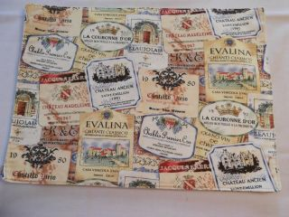 Kay Dee Designs 5 Place Mats Antique Wine Bottle Labels Cotton Poly 17 X 13