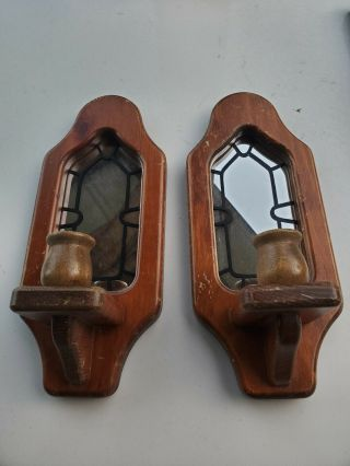 Vintage Wood Mirrored Wall Candle Holder Wall Sconce