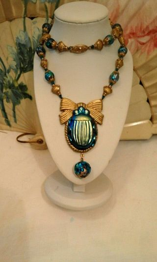Egyptian Revival Outstanding Tiffany Favrile Necklace With Ultra Rare Beads