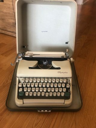 Olympia Sm2 Hebrew Typewriter Tan Black Ribbon Rare Layout Two