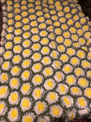 Vtg Daisy Afghan 73 X 42 Hand Made Throw Blanket Crochet Hippie Flower Yellow
