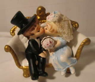 Sweet Vintage Lefton China Bride & Groom On Love Seat Set Cake Topper?