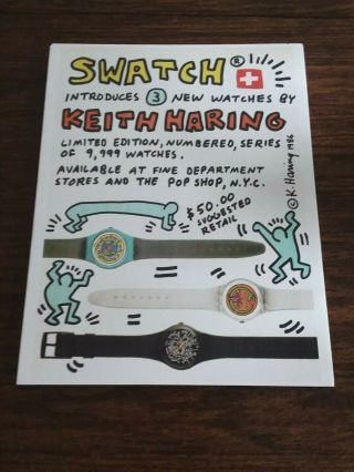 Rare Signed 1986 Keith Haring Artwork Advertising Poster - - Swatch Watches