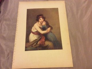 Antique Book Plate - Madame Vigee Le Brun And Her Daughter - 1910