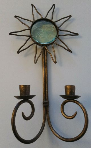 Metal & Glass Sun Candle Wall Holder