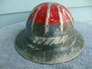 Rare Vintage 1948 Titan Bluestreak 2 Man Chainsaw Hard Hat Helmet Aluminum