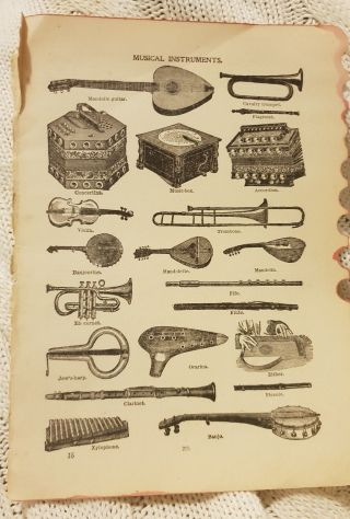 Musical Instruments - Antique Book Print