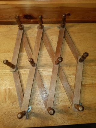Vintage Wood Expandable Folding 10 Peg Wall Hanger Coat Rack Accordian