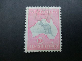 Kangaroo Stamps: 10/ - Pink 1st Watermark Cto - Exceptionally Rare (d143)