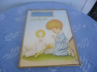 Vintage Retro Wall Mirror Boys Bedroom Praying 1970