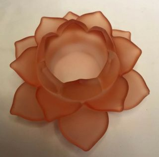 Frosted Orange Glass Lotus Candlestick Tea Light Candle Holder