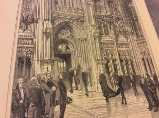 Antique Book Print - Lobby Of The House Of Commons - 1900