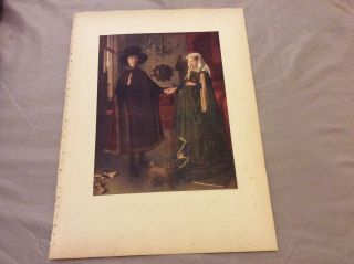 Antique Book Print - John Arnolfini And His Wife - Van Eyck - 1910