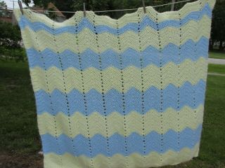 Vintage Blue Yellow Chevron Stripe Crochet Knit Afghan Throw Zig Zag Blanket