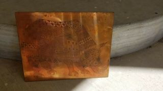 Rhinoceros Rhino Copper Engraved Printing Plate Block Letterpress Rare Children