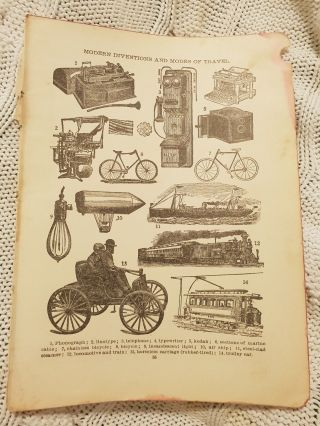 Modern Inventions & Modes Of Travel - Antique Book Print