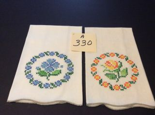"2 Hand Towels 19"" X 14 Hand Embroidered Very Charming"