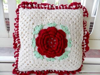 "Vintage Hand Knit Crochet Throw Bed Couch Pillow Red Flower 12 "" X 12 """