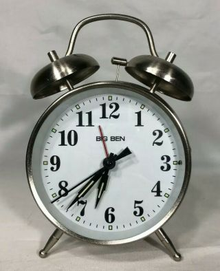 Westclox Big Ben Twin Bell Alarm Clock Analog Silver Battery Operated