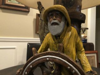 Rare Apsit Bros Of Calif White Beard Sea Captain Mariners Lamp 1980 28 ""