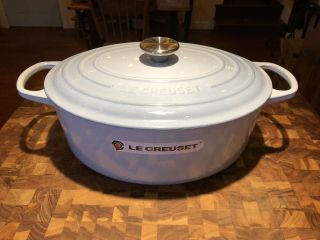Rare Le Creuset Coastal Blue 6 3/4 Quart Cast Iron Oval Dutch Oven
