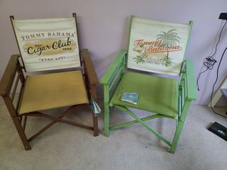 2 Vintage Tommy Bahama Fold Out Director Chair Rare Set Beach Patio Cigar Club