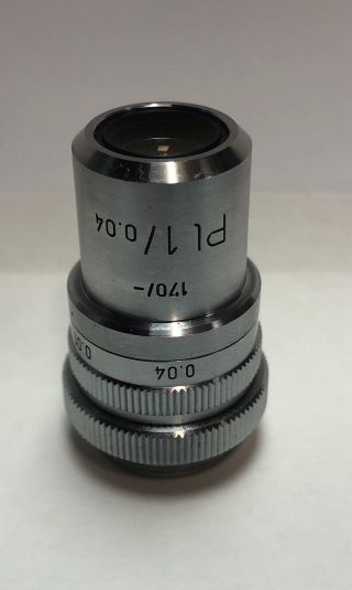 Leitz Pl Plan 1x/0.  04 Microscope Objective Lens With Iris Rare 170mm