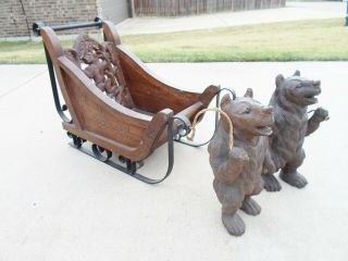 2 Rare Antique Vintage Hand Craved Wood Bears Pulling Wood And Metal Sleigh