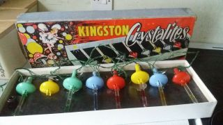 Extremely Rare Vintage Kingston Crystalites Christmas Tree Lights Bubble Lights