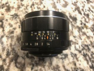 Asahi Pentax Takumar 50mm F1.  4 Rare 8 - Element Version S/n 1486635
