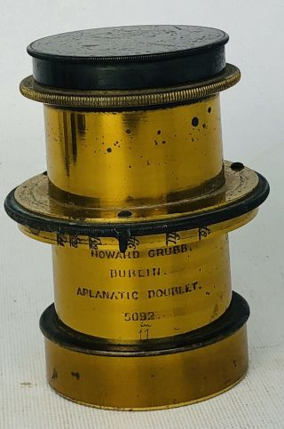 Rare C.  1875 Aplanatic Doublet Lens By Sir Howard Grubb Dublin No.  5092