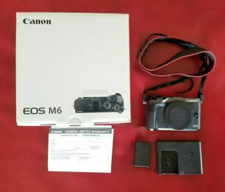 Canon Eos M6 24.  2mp Digital Camera - Black (body Only),  Rarely
