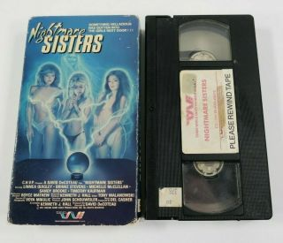 Nightmare Sisters Movie Rare Oop Vhs 1988 Cult Horror Trash Video Tape