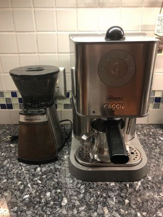 Baby Twin Gaggia Espresso Machine,  Rarely,  With Conical Burr Grinder