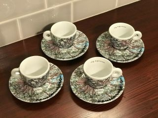 "Robert Rauschenberg Very Rare "" Signed "" Illy Espresso World Cups & Saucers / Set"