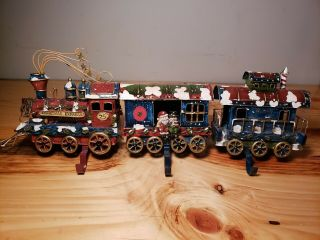 Christmas Express 3 Piece Stocking Holder Train Set Very Rare Heavy Metal