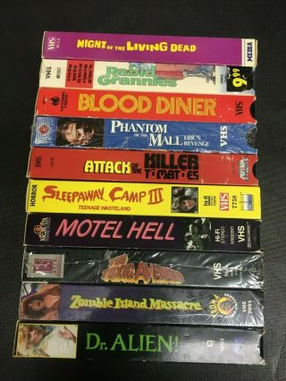 10 Rare Vhs Tapes Sleepaway Camp Iii Zombie Island Massacre Blood Diner Etc
