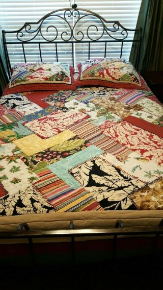 "Pottery Barn Luau Tropical Island Quilt Rare Full/queen 88 X 90 "" Pre - Owned"